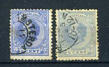 NEDERLAND 19 gestempeld 1872-1888 - Koning Willem III (2 stuks)
