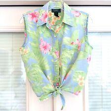 Ralph Lauren Blue Green Pink Hibiscus Floral Tie Waist Linen Sleeveless Top. 12