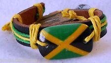 Jamaica Flag Fashion Leather Bracelet Adjustable Pull Cords!