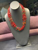 """Ladies  Bohemian Multi strand seed bead Red turquoise cross beaded necklace 22"""""""