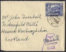 ADEN 1942 Aden CDs TYING 2 1/2A K GEORGE VI ISSUE RAF CENSOR T SCOTLAND