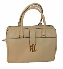 RALPH LAUREN Carrington Braelyn Leather Beige BARREL SATCHEL HANDBAG $258