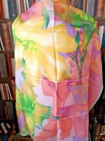 JL JAMMERS & LEUFGEN PASTEL FLORAL VINTAGE Square Head/Neck Scarf 100%Silk Pink.
