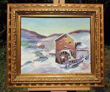 Old Mill Winter Landscape Oil Painting, W.N. Botts Jr. Label, Big Stone Gap, VA