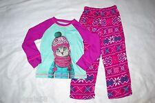 Girls Pajama Set CAT WEARING COAT HAT SCARF Aqua Purple PLUSH PANTS Snow XS 4-5