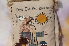 Noah's Ark Cotton Blend Decorative Hand Painted Pillow, Rectangle