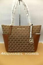 Michael Kors Leather/Fabric Bedford Large MK Brown Logo Print Tote Bag BNWT
