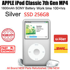 APPLE iPod Classic 7th Gen MP4 PLAYER 256GB SSD 1800mAh 100hrs New Battery Silve