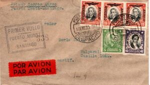 1930 Chile First Flight Cover Puerto Montt to Santiago with 5 Stamps