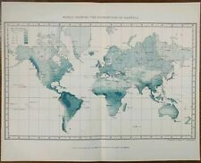 Vintage 1896 DISTRIBUTION OF RAINFALL Of The WORLD Map ~ Old Antique Original