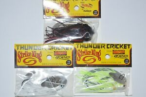 3 lures strike king thunder cricket bladed jig 1/2oz bass assortment