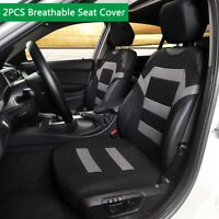 2PCS Breathable Front Seat Cover rotector Stripe Black Gray For Car SUV Truck
