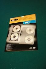 Fellowes CD/DVD Binder Sleeve Sheets; 10/pk; holds 2-discs with or without cases