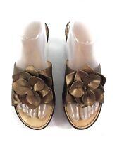 BORN Women's 8M Gold Flower Leather Wedge Slide Weave Heel Sandal Slip On Shoes