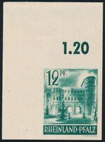 FZ RHLD.-PFALZ, MiNr. 4 U, ungez., Bogenecke, postfrisch, gepr. Straub, Mi. 75,-