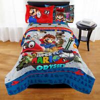 Reversible Twin Comforter Super Mario Odyssey Caps Off Nintendo Cozy Warm Kids