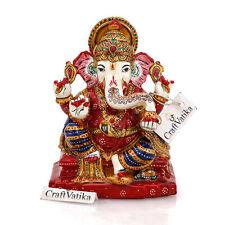 Stone Ganesha Statue Hand Painted Hindu Success God Ganesh Sculpture Gift Decor