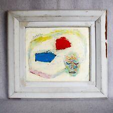 1940s Bezalel Schatz Oil Painting Mid Century Modern Abstract Israeli Modernist