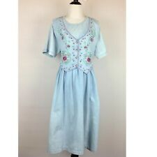 Vintage Country Wear Maxi Dress Womens 16P Petite Denim Embroidered Pockets