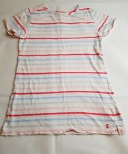 Ladies Joules white striped cotton T-Shirt. Size 6.