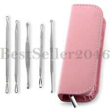 5pcs Blackhead Pimple Blemish Acne Extractor Remover Tool Kit come with Pink Bag