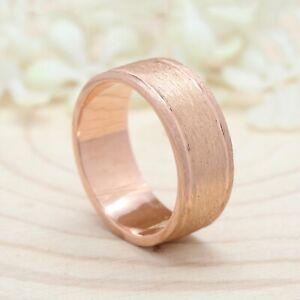 8mm 14K Matte Finish Rose Gold Mens Band Ring Wedding Anniversary GiftRing KD067
