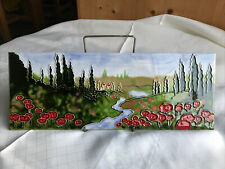 More details for rare vintage old tupton ware poppy landscape scene ceramic wall plaque