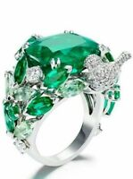 Exquisite 925 Silver Emerald Gemstone Wedding Engagement Bridal Ring Size 6-10