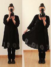 Schwarz 50 52 54 Lagenlook Long Tunika KLEID Hippie Mittelalter Gothic Vintage
