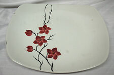 California Pottery Orchard Ware Platter with Maroon Floral Pattern