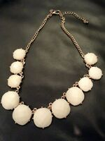 Charming Charlie Necklace Off White Stones Faux Gold Tone Round Jewelry 20""