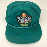 Vintage Hong Kong hat corded rope cap green with patch Unicorns hbx41