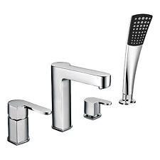 """Fiesta"" Chrome 4 Hole Deck Mounted Bath Shower Mixer - Designer Taps"
