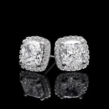 1CT Cushion & Round Created Diamond Halo Earrings 14K White Gold Studs Screwback