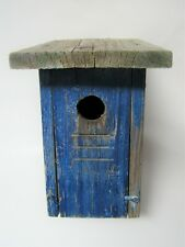Vintage Hand Made Rustic BLUE Wood Bird House Wooden Birdhouse