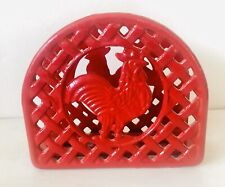New listing Painted Cast Iron Napkin Holder Red Rooster Arched Basketweave Picnic Pool Patio