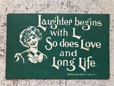 1907 R. L. Wells Vintage Postcard Laughter begins with L, Love Life Creepy Clown