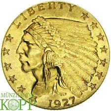 E585) USA - Vereinigte Staaten 2 1/2 Dollar 1927 INDIAN HEAD GOLD