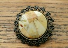 Baltic Amber Brooch Mosaic White Polished Round Pin Natural Handmade Antique 4gr