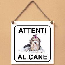 Biewer 2 Attenti al cane Targa piastrella cartello ceramic tile