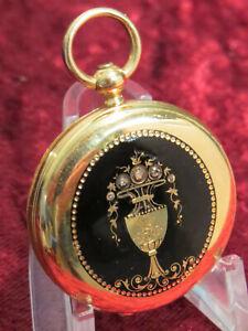 TRAUM Taschenuhr ~1850 E.THIERRY 34mm 18K 750 GOLD + EMAILLE + DIAMANTEN ! TOP Q