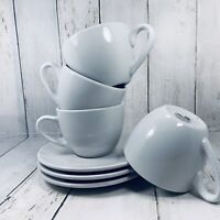 Coffee Bar KONITZ White Ceramic 4 Cups 3 Saucers Mugs Coffee Mug Cup Sets