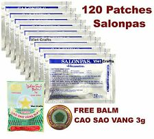 120 Sealed SALONPAS PATCHES - Sport Muscle Pain Relieving Aches + FREE BALM