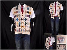 Vtg Corgi Knitwear Mens Handmade Merino Wool Sleeveless Argyle Cardigan Tank Top