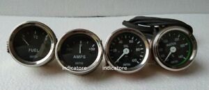 "Smiths Replica 52 mm 2 1/16"" Gauges Kit - Temp + Oil + Fuel + Amp Gauge"