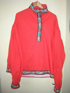 COSSACK SHIRT XL 46 RED FLORAL TRIM RUSSIAN ARMY LARP DANCE FILM THEATRE