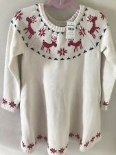 NWT HANNA ANDERSSON DEAR DEER HOLIDAY CHRISTMAS SWEATER DRESS - SIZE 6-7 -120