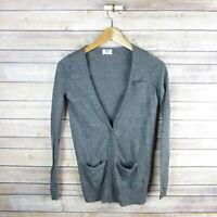 WALLACE Women's Merino Wool Lightweight Cardigan Sweater XS Extra Small Gray