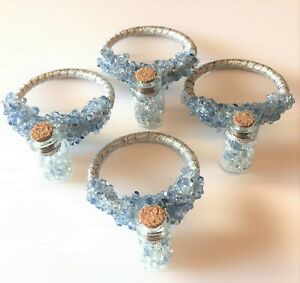"""Blue """"Crystal"""" Fairy Bottle Napkin Rings Set of 4 Whimsical Wish Silver Sparkly"""