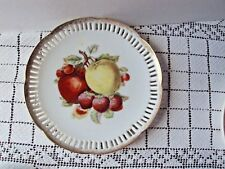 """Wall Art Fruit Plate Hand Painted Gold Accents Ceramic Hanger Back 8"""" Diameter"""